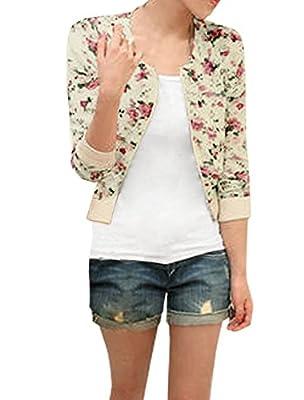 Allegra K Women 3/4 Sleeve Zip up Flower Pattern Cropped Jacket Beige XS