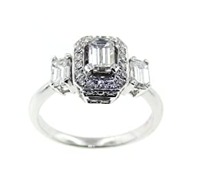 18K White Gold Engagement Ring .Emerald cut Diamond .(1.06 TCW (VVS2-)100-0088