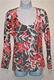 Pure Lime Women's Long Sleeve Printed Mesh Top Fitness Rose/White/Grey Medium
