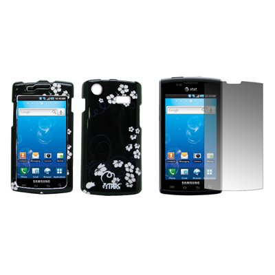 EMPIRE Black with White Midnight Flowers Design Snap-On Cover Case + Screen Protector for AT&T Samsung Captivate I897 (Samsung I897 Case compare prices)