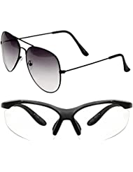Unisex Uv Protected Combo Pack Of Aviator Sunglasses And Clear Night Vision Sunglasses ( Black Shd Black - Clear...
