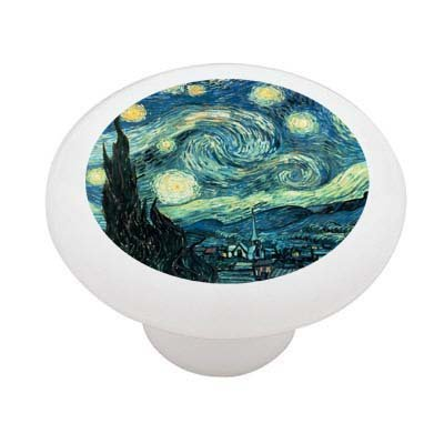 Starry Night By Van Gogh Decorative High Gloss Ceramic Drawer Knob front-175863