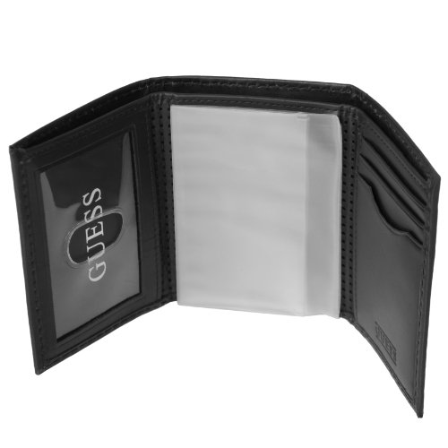 Guess Mens Perforated Genuine Leather Trifold Wallet
