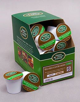 Fair Trade Wild Mountain Blueberry Flavored Coffee --- By Green Mountain --- 5 Boxes Of 24 K-Cups