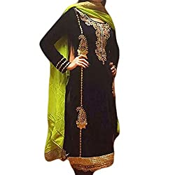 Reet Glamour Women 's Crepe Unstitched Black Punjabi Embroidered Suit