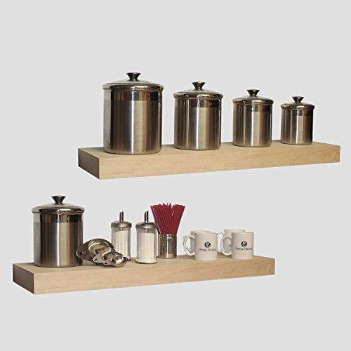 Omega national 24 wood floating wall shelf ledge cherry for Wall shelves and ledges