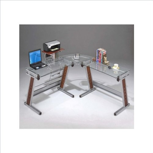 Buy Low Price Comfortable Mad Tech 33.5×65.5×62.5 Clear Glass Panel & Steel Frame Computer Office Desk Table (B004W0MJEY)