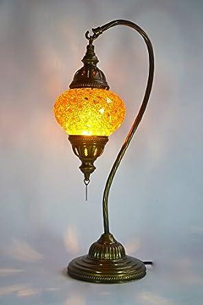mosaik 1001 tischlampe nalaya nachttisch lampe messing glas orientalisch 47x19cm. Black Bedroom Furniture Sets. Home Design Ideas