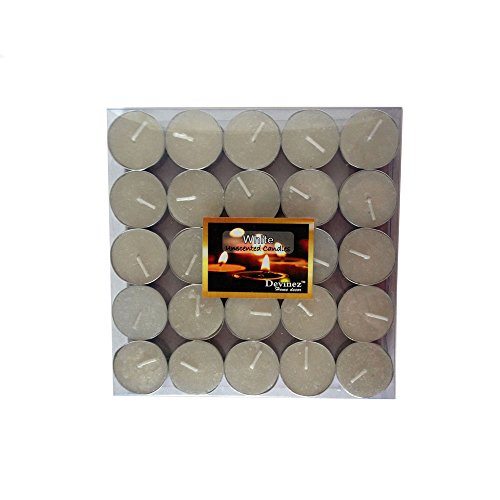 Devinez Smokeless White Tealight Candles, (Pack Of 50), 4.5 Hour Buring