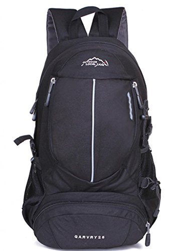 Zerd Outdoor Waterproof Nylon Mountaineering Camping Travel Backpack Trekking Bag 30L Black front-260267