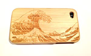 Engraved Japanese Painting The Great Wave Off Kanagawa Bamboo Iphone 4 and 4S Case