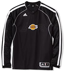 NBA Los Angeles Lakers On-Court Long Sleeve Shooter, Small, Black and White by adidas