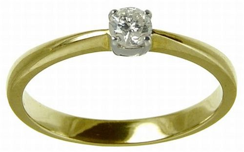 9ct Yellow Gold Diamond Engagement Ring With Round Brilliant Diamond Solitaire, 0.20 carat Diamond Weight
