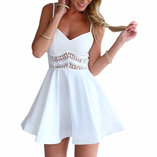 New Womens Sleeveless Waist Lace V Neck Bodcyon Slim Large Hem A-Line Dress S-XL