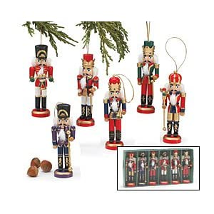Hand Painted Wood 5.5 Inch Tall Soldier Nutcracker Ornament Assortment (Set of 6)