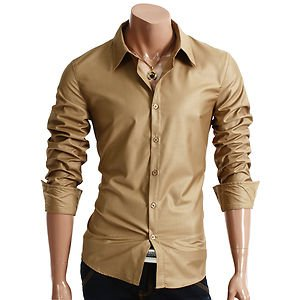 Brand New Mens Casual Slim fit Dress Shirts Shine Colletion