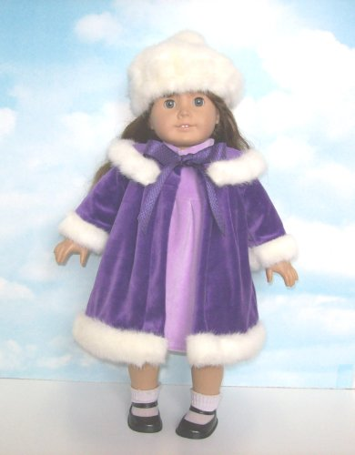 Purple Velvet Coat and Dress Set. Fits 18 American Girl Dolls
