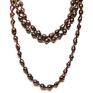 HinsonGayle Extreme Baroque Collection Handpicked Ultra-Luster 10-11mm Chocolate Fireball Baroque Cultured Pearl Rope Necklace (14k Yellow Gold)