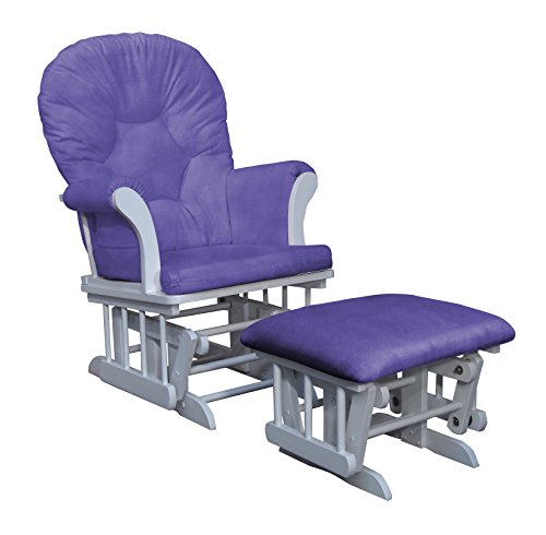 Shermag Dayton Sleigh Glider Rocker and Ottoman, White with Lavender