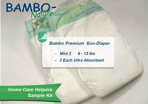 Bambo Nature® Ultra Absorbent Chlorine-Free Eco-Friendly Baby Diapers - Size 2 - Mini - Fits 6.6 to 13 lbs - Sample (2)