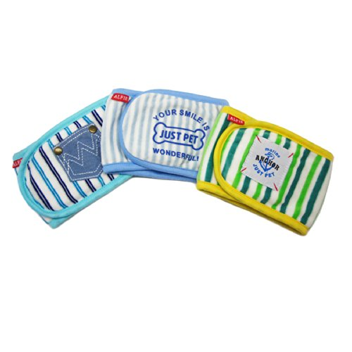 Alfie Pet By Petoga Couture - Gaki Belly Band 3-Piece Set - Size: S (For Boy Dogs) front-985537