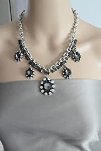 Grey Crystal Statement Necklace - Great Quality