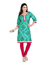 Pranjal Women's Satin Cotton Pure Bandhej With Block Print Seagreen Colour Straight Kurta