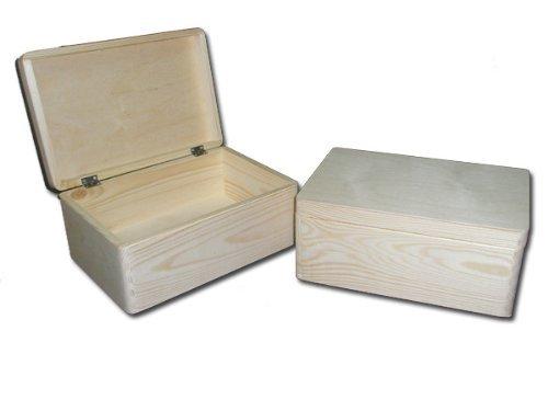 6 x Scatola in legno non Decorata, Scatola per Attrezzi, Fai da te, Scatola Stockaggio senza Maniglie/ Scatola Giochattoli 30x 20x 14cm