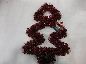 Red Tinsel Garland Wire Christmas Tree Wall Decoration / Door Hanger. This 15 Inch Tree Is A Colorful, & Festive Addition To Your Family's Holiday Decorations. Numerous Additional Coordinating Decoration Styles, Colors, Shapes And Sizes Are Available.