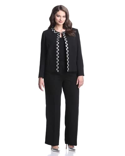 Tahari by ASL Plus Women's Pant Suit with Embroidery Detail