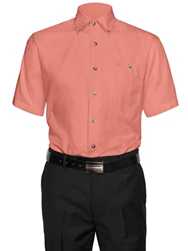 Aka mens 100 cotton button down collar short sleeve for Mens 100 cotton button down shirts