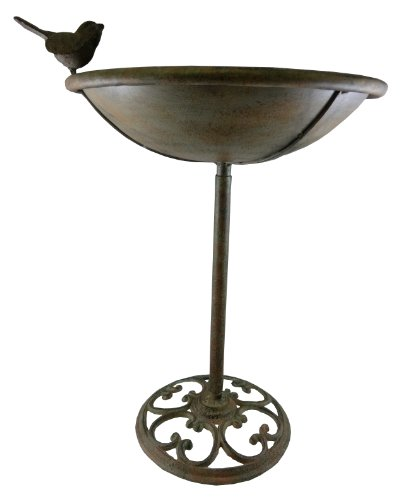 Napco 20-Inch Tall Metal Pedestal Bird Feeder or Bath