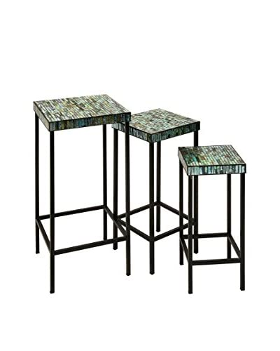 Set of 3 Aramis Mosaic Glass Tables