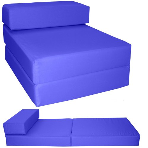 Gilda ® STANDARD CHAIRBED - ROYAL BLUE FRESCO Single Chair Bed Futon Water & Stain Resistant. Reversible. Removeable Cover. Lots more colours available in our AMAZON Shop