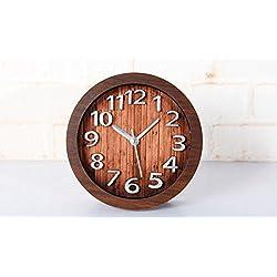High-Grade Retro 3D Figures Silent Non-Ticking Wooden Table Clock