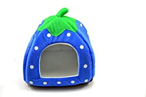Neverland 3 Size Soft Strawberry Pet Dog Cat Bed House Kennel Doggy Warm Cushion Basket Deep Blue Small
