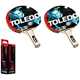 Toledo Table Tennis Racket And Competition Table Tennis Balls- TT Kit