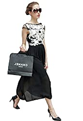Zombom Black and White Georgette Evening Cocktail Party Wear Dresses