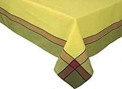 Xia Home Fashions Riviera Collection Contemporary Tablecloth, 60-Inch by 118-Inch, Celery