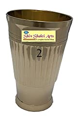 SHIV SHAKTI ARTS Handmade Pure Brass Heavy Gauge Glass with design of Lines