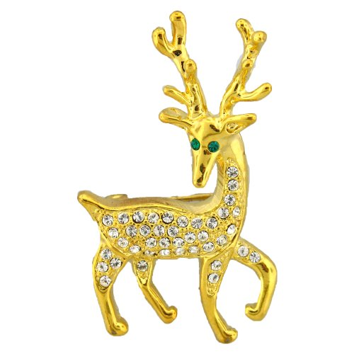 24K Gold Deer Pin Brooch White Swarovski Crystals Reindeer Christmas Ciervos ...