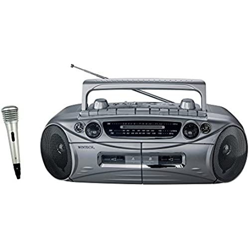 WINTECH AM/FM/SW(단파)탑재 마이크부 더블 라디오카세트 실버 (FM와이드 밴드 모델) WCT-1MY-WCT-1MY (2016-02-19)