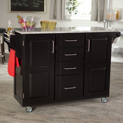 Cheap Kitchen Cart – Large Create-a-Cart with Gray / Salmon Granite Top in Cherry – Home Styles – 9100-1075 (9100-1075)