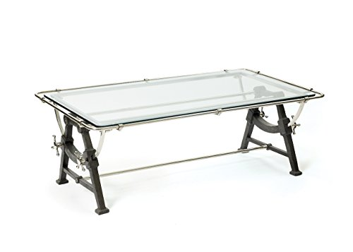 Architectural Retro Coffee Table | Drafting Iron Metal Glass (Cast Iron Drafting Table compare prices)
