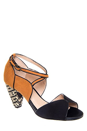 Nelly Mid Heel Color Block Sandal