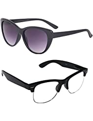 New Stylish UV Protected Combo Pack Of Sunglasses For Women / Girl ( BlackCateye-ClearHFWayfarer ) ( CM-SUN-018 )