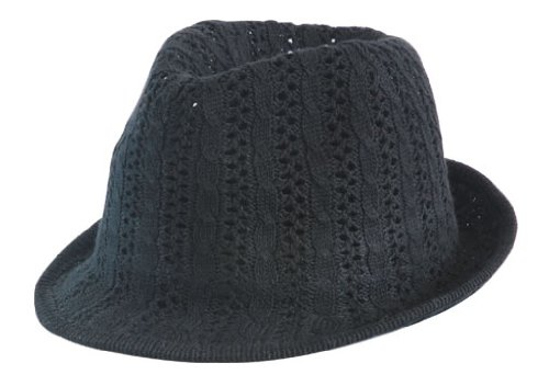 Trilby Hut Herrenhut - Strick-Design - 57-58cm - Schwarz