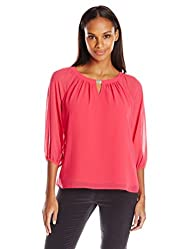 Calvin Klein Women's Chiffon Top with Hardware