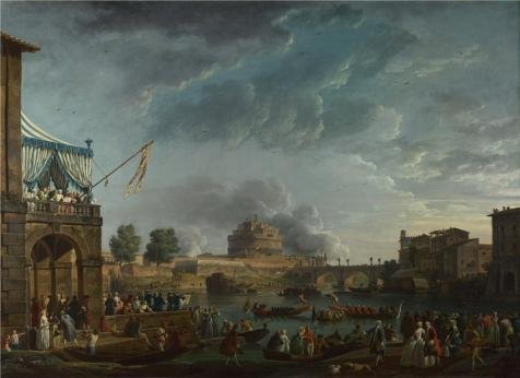 'Claude-Joseph Vernet - A Sporting Contest On The Tiber At Rome,1750' Oil Painting, 30x41 Inch / 76x105 Cm ,printed On High Quality Polyster Canvas ,this Vivid Art Decorative Canvas Prints Is Perfectly Suitalbe For Garage Gallery Art And Home Gallery Art And Gifts