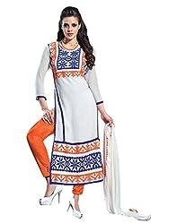 Surat Tex White Color Party Wear Embroidered Cotton Un-Stitched Dress Material-H930DLA1AM
